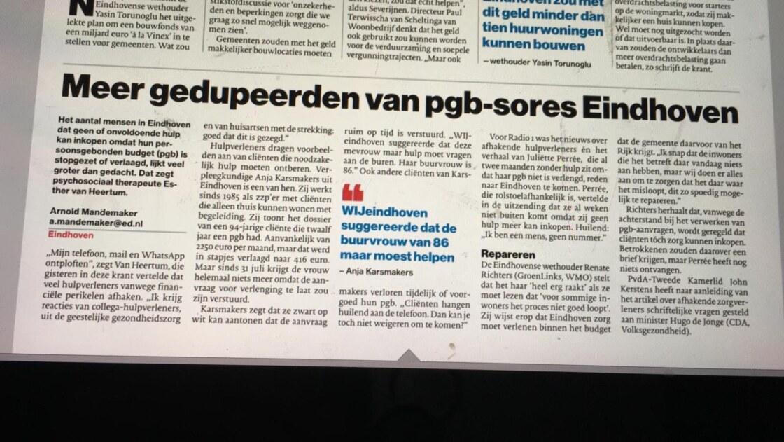 Foto van artikel Meer gedupeerden van pgb-sores Eindhiven